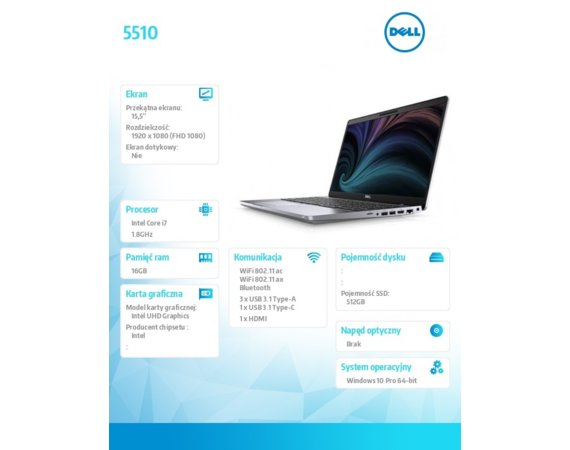"Dell Notebook Latitude 5510 Win10Pro i7-10610U/512GB/16GB/UHD620/15.6""FHD/KB-Backlit/4-cell/3Y BWOS"
