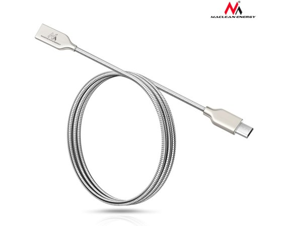 Maclean Kabel Micro USB metalowy srebrny MCE190 - Quick & Fast Charge