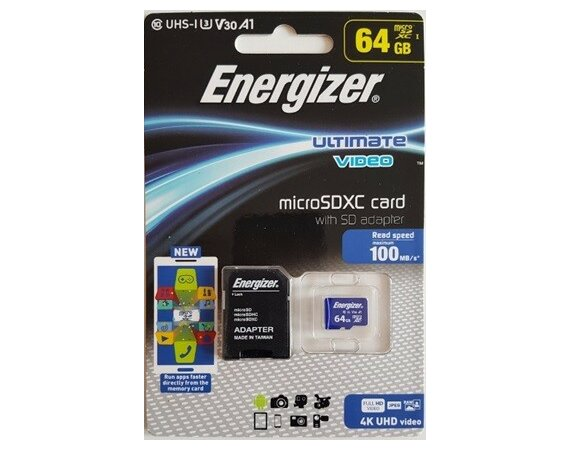 Energizer Karta pamięci microSDXC A1 UHS-I U3 V30 A1 ULTIMATE VIDEO 64GB + adapter SD