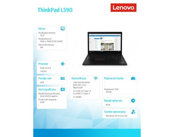 Lenovo Laptop ThinkPad L590 20Q70018PB W10Pro i5-8265U/8GB/512GB/INT/15.6 FHD/1YR CI