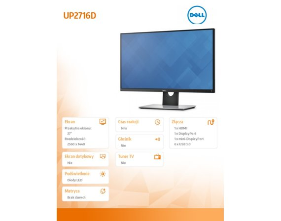 Dell Monitor 27 UP2716D PremierColor QHD (2560x1440) /16:9/2 xHDMI/mDP/DP/6xUSB 3.0/3Y PPG