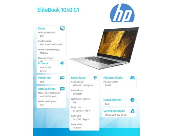 HP Inc. Laptop EliteBook 1050G1 i5-8400H W10P 256/8GB/15,6     3ZH17EA