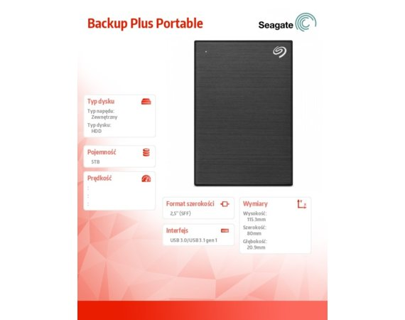 Seagate Backup Plus 5TB 2,5 STHP5000400 Black