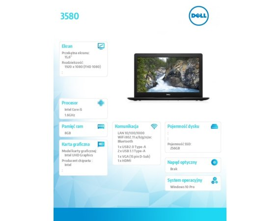 "Dell Laptop Vostro 3580 Win10Pro i5-8265U/256GB/8GB/Intel UHD 620/15.6""FHD/3-cell/3Y Basic Onsite"