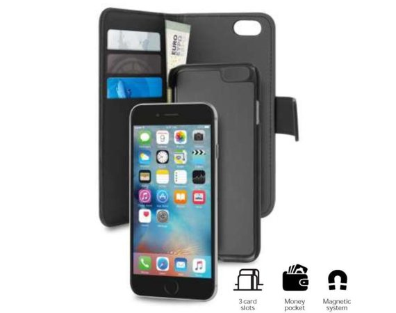 PURO Wallet Detachable - Etui 2w1 iPhone 8 Plus/7 Plus (czarny)