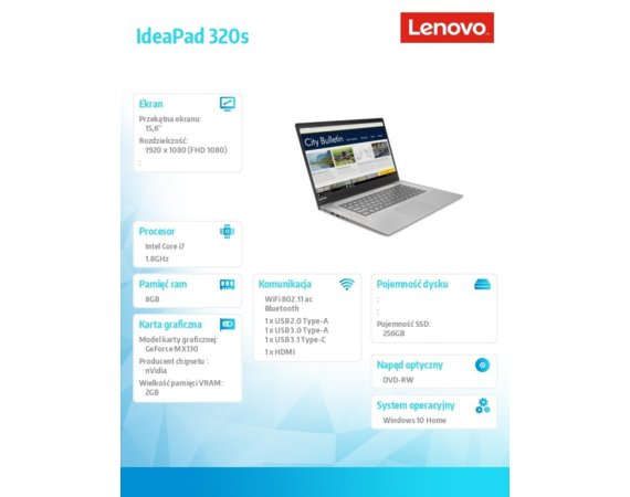 Lenovo Notebook IdeaPad 320s-15IKB  81BQ0075PB W10Home i7-8550U/8GB/256GB/MX130 2GB/15.6 FHD/Mineral Grey/2YRS CI