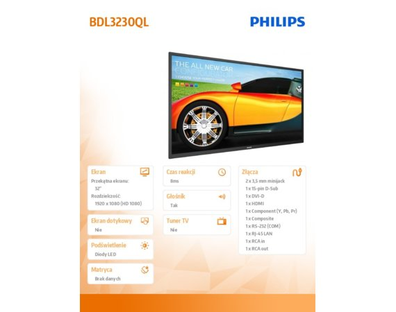Philips Monitor 32 BDL3230QL Direct LED Public Display 16/7 8GB eMMC