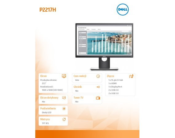 Dell Monitor 21,5 P2217H IPS LED FullHD (1920x1080) /16:9/HDMI(1.4)/DP(1.2)/VGA/4xUSB 3.0/3Y PPG