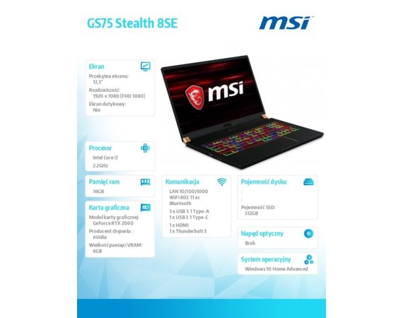 MSI Notebook GS75 Stealth 8SE-075PL  W10/i7-8750H/16/512/RTX2060/17.3 FHD