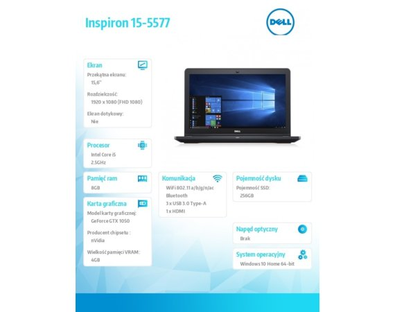 Dell Laptop Inspiron 15-5577 219129SA i5-7300HQ/15.6 FHD AntiGlare/8GB/SSD 256GB/BT/BLKB/GeForce GTX1050 4GB/Win 10 Repack