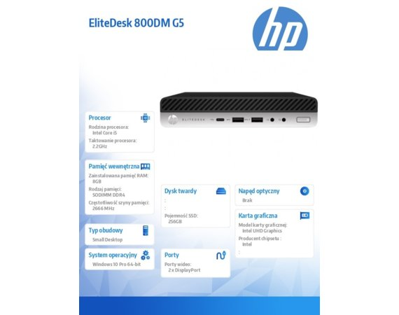 HP Inc. Komputer EliteDesk 800DM G5 i5-9500T 256/8GB/W10P/24 8NC64EA + Monitor Mini-in-One 24 Display 7AX23AA
