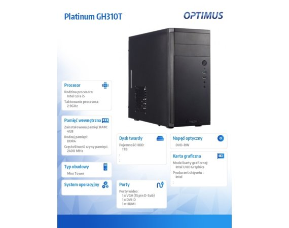 OPTIMUS Komputer Platinum GH310T i5-9400/4GB/1TB/DVD