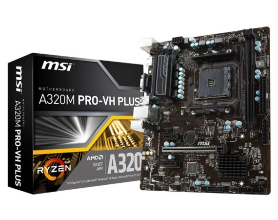 MSI A320M PRO-VH PLUS AM4 A320 2DDR4 6USB3.1 uATX