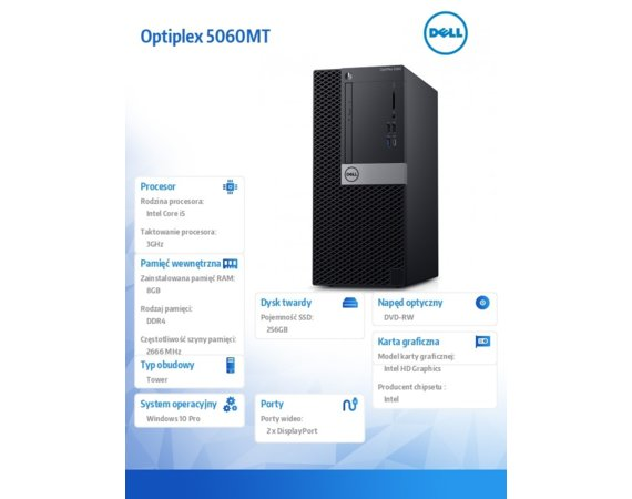 Dell Komputery Optiplex 5060MT W10Pro i5-8500/8GB/256GB/Intel UHD 630/DVD RW/KB216/MS116/260W/3Y NBD