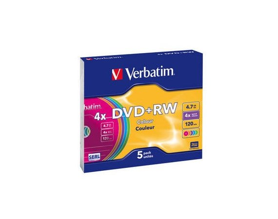 Verbatim DVD+RW 4x 4.7GB 5P Color
