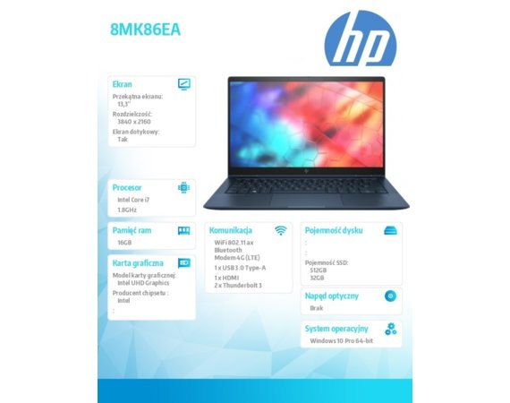 HP Inc. Notebook Elite Dragonfly W10P i7-8565U/512+32/16GB 8MK86EA