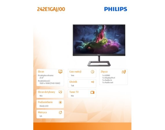 Philips Monitor 242E1GAJ 23.8 cala VA 144Hz HDMI DP