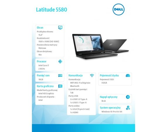 "Dell Latitude 5580 Win10Pro i7-7600U/512GB/16GB/Intel HD620/15.6"" FHD/KB-Backlit/68WHR/3Y NBD"