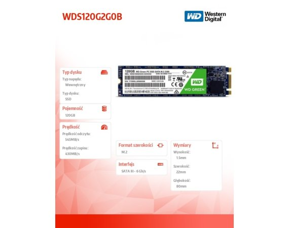 Western Digital Dysk Green SSD 120 GB M.2 2280 WDS120G2G0B