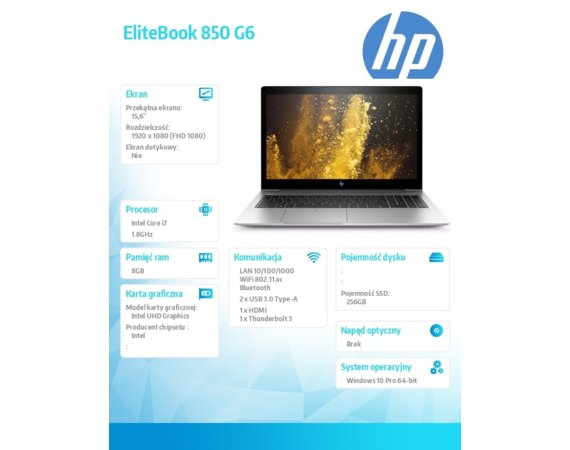 HP Inc. Notebook EliteBook 850 G6 i7-8565U W10P 256/8GB/15,6  6XD81EA
