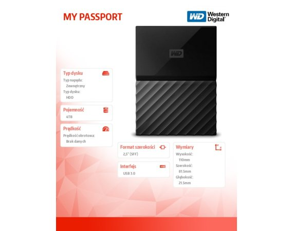 Western Digital MY PASSPORT 4TB 2,5' black WDBYFT0040BBK-WESN