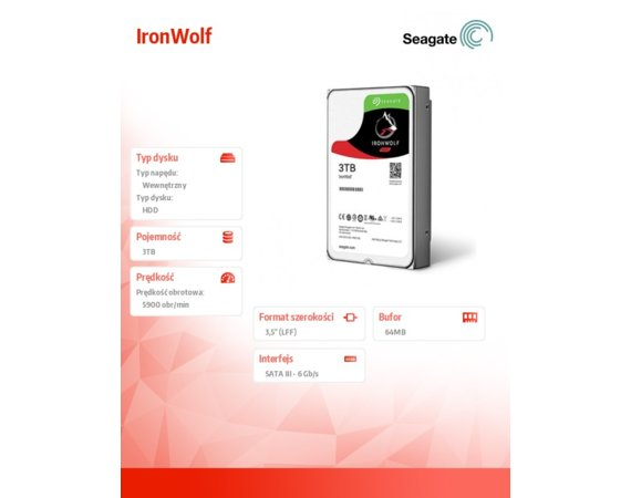 Seagate IronWolf 3TB 3,5'' 64MB ST3000VN007