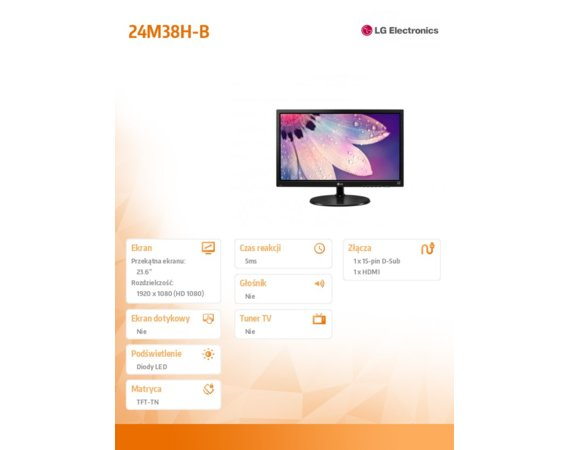 LG Electronics Monitor 24 24M38H-B  TN 5ms Full HD,HDMI,D-sub