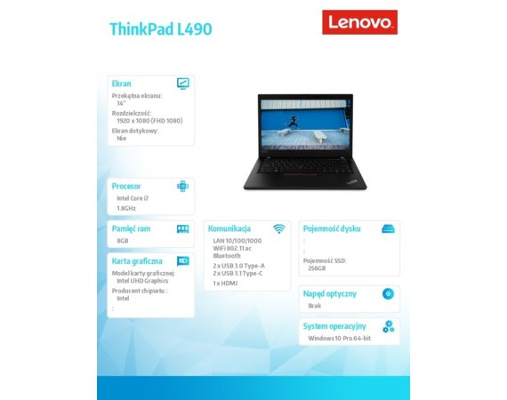 Lenovo Laptop ThinkPad L490 20Q50021PB W10Pro i7-8565U/8GB/256GB/INT/14.0 FHD/1YR CI