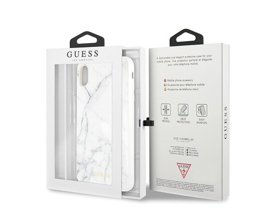 GUESS Etui Hardcase iPhone Xs Max białe Marble