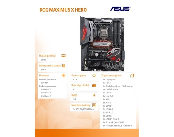 Asus ROG MAXIMUS X HERO s1151 4DDR4 HDMI/DP M.2 ATX
