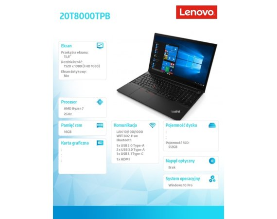 Lenovo Laptop ThinkPad E15 20T8000TPB W10Pro 4700U/16GB/512GB/INT/15.6 FHD/1YR CI