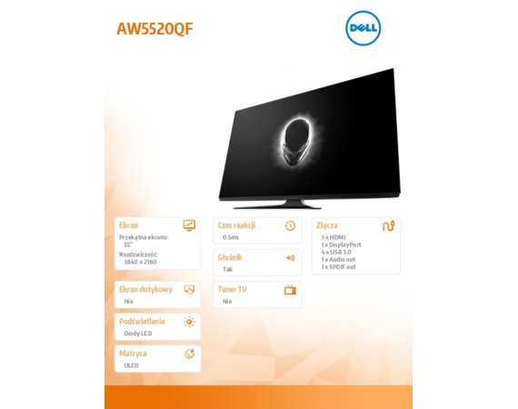 Dell Monitor AW5520QF 55 OLED 3840x2160/HDMI/DP/3Y