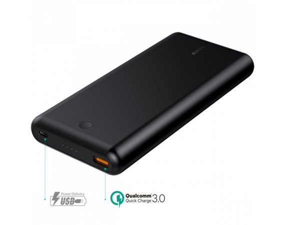 AUKEY PB-XD26 Black ultraszybki Power Bank | 26800 mAh | 2xUSB | 6A | Quick Charge 3.0 | Power Delivery | kabel USB-C