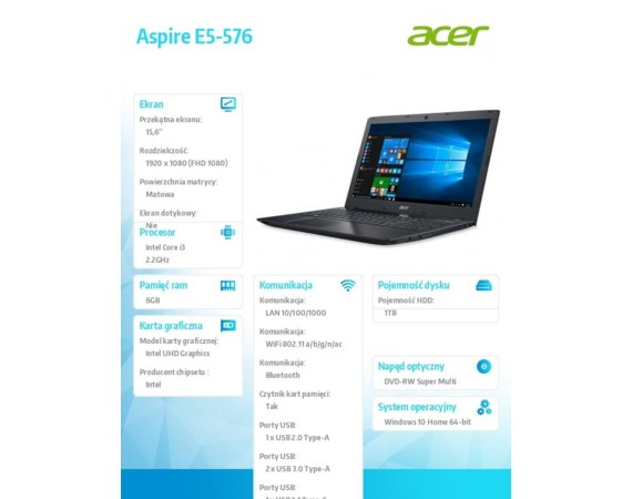 Acer Laptop Aspire E5-576-392H  REPACK WIN10/i3-8130U/6GB/1T/DVD/BT/15.6FHD
