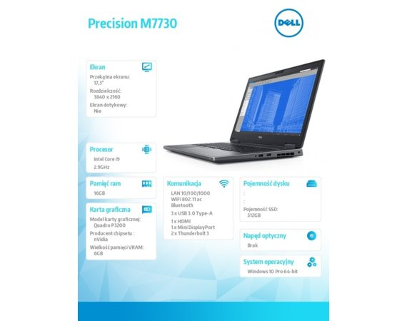 Dell Notebook Precision M7730 Win10Pro i9-8950HK/512GB SSD/16GB/P3200/17,3 UHD/FPR/SCR/3Y NBD