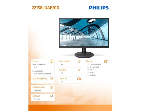 Philips Monitor 21.5 221S8LDAB LED DVI HDMI Głośniki