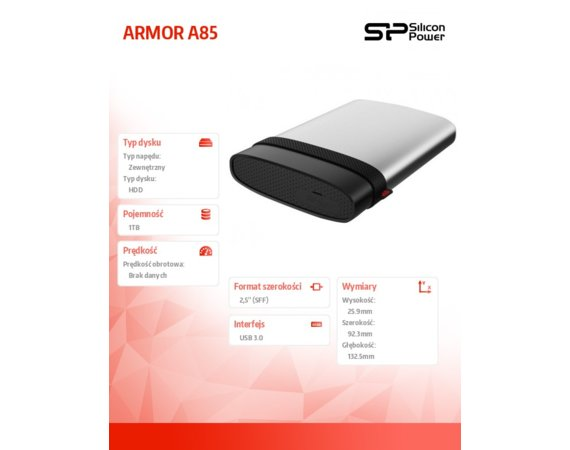 Silicon Power ARMOR A85 1TB USB 3.0 Blue, Anti-shock/water proof