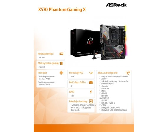 ASRock Płyta główna X570 Phantom Gaming X AM4 4DDR4 HDMI/USB M.2 ATX