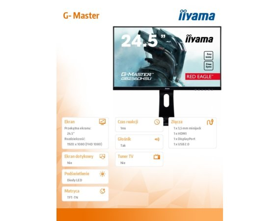 IIYAMA Monitor 24.5 GB2560HSU-B1 1MS,144Hz,HDMI,DP,USB,PIVOT,FLICKER FREE