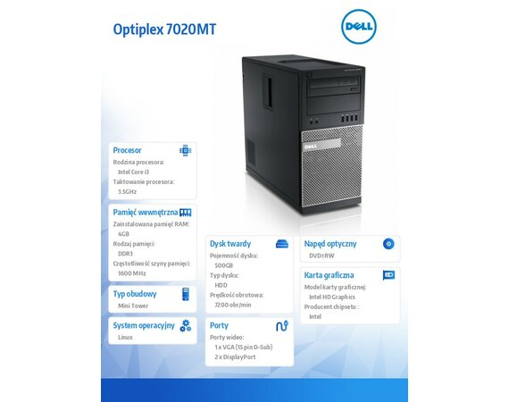 Dell Optiplex 7020MT Linux i3-4150/500GB/4GB/DVD+/-RW/Integrated HD4400/KB212-B/MS111/3Y NBD