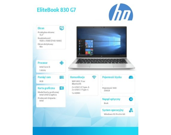 HP Inc. Notebook Elitebook 830 G7 i5-10210U 256/8G/13,3/W10P 176X9EA