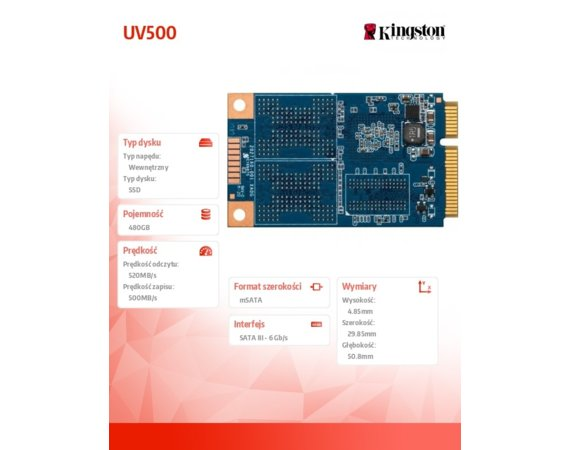 Kingston UV500 480GB mSATA 520/500 MB/s