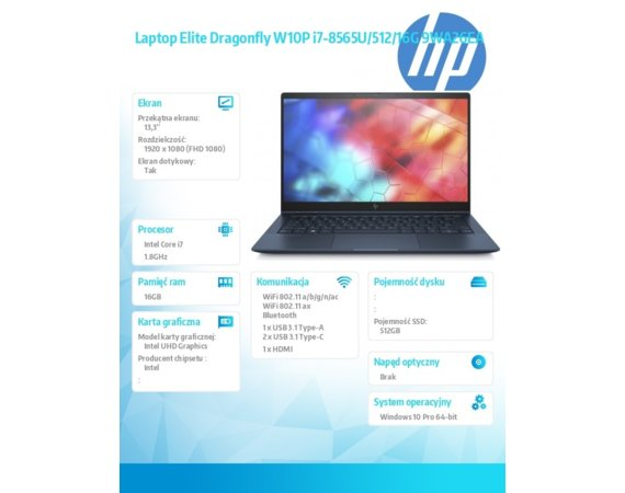 HP Inc. Laptop Elite Dragonfly W10P i7-8565U/512/16G 9WA26EA