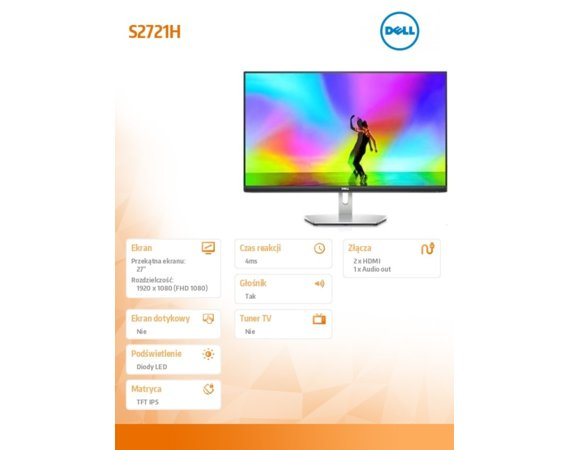 Dell Monitor S2721H 27 cali IPS LED Full HD (1920x1080) /16:9/2xHDMI/Speakers/3Y PPG