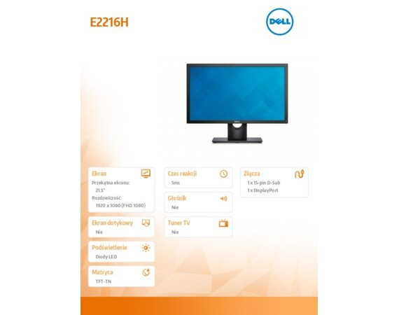 Dell Monitor 21.5 E2216H LED TFT Full HD (1920x1080) /16:9/VGA/DP (vr1.2)/5Y PPG