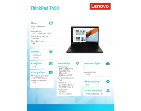 Lenovo Ultrabook ThinkPad T490 20N2000QPB W10Pro i7-8565U/8GB/512GB/INT/14.0 FHD/Black/3YRS CI
