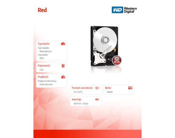 Western Digital HDD Red 4TB 3,5'' 64MB  SATAIII/5400rpm