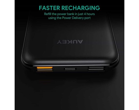 AUKEY PB-Y13 Black ultraszybki Power Bank | 10000 mAh | 4xUSB | Quick Charge 3.0 | Power Delivery | kabel USB-C