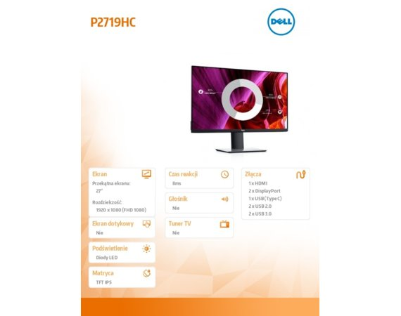 Dell Monitor 27 cali P2719HC  IPS LED Full HD (1920x1080) /16:9/HDMI/DP/USB-C/4xUSB /3Y PPG