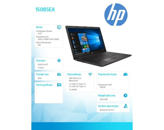 HP Inc. Notebook 250 G7 i7-1065G7 W10P 256/8G/DVD/15,6 150B5EA